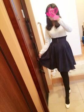 sayaさんの「ハイウエストネイビースカート(BLUEROGUE|ジーユー)」を使ったコーディネート