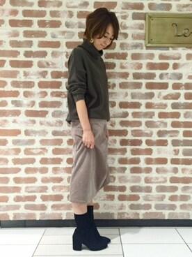 Le Talon吉祥寺店|KAGAWAさんの「GRISE7cmレザーストレッチミドルブーツ◆(Le Talon|ルタロン)」を使ったコーディネート