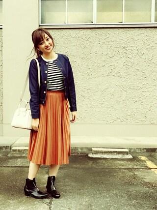 菊地亜美さんの「デニムコンビブルゾン(Loungedress|ラウンジドレス)」を使ったコーディネート