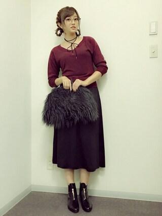 菊地亜美さんの「細フレームメガネ(snidel|スナイデル)」を使ったコーディネート