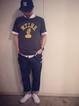 林 星児Tシャツ・カットソー「Champion champion  カレッジTシャツ」Styling looks