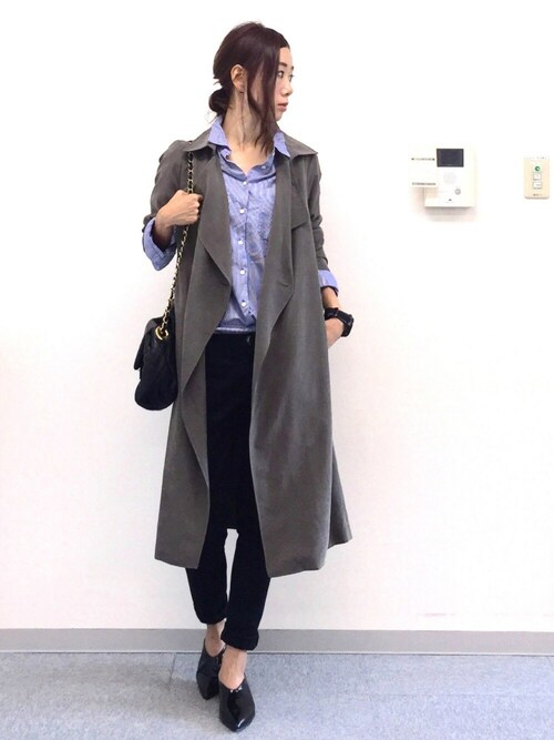 soliさんの「WOMEN エクストラファインコットンオーバーサイズストライプシャツ(長袖)(ユニクロ)」を使ったコーディネート