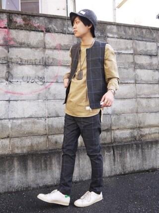 Ryusei Satoさんの「POLYESTER CHECK GILET(Name.|ネーム)」を使ったコーディネート