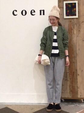 coen鹿児島店 coen よこやまさんの「ベロアライクスリッポン(coen)」を使ったコーディネート