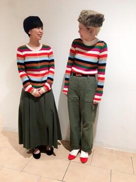 Dot&StripesCHILD WOMAN.atelier|24さんの「マルチボーダータートル(CHILD WOMAN)」を使ったコーディネート