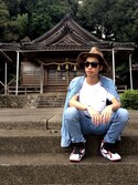 「Maison Kitsuné Cotton-Jersey T-Shirt(MAISON KITSUNÉ)」 using this IZU looks