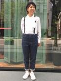 Emika Abeさんの「【予約】GEVAERT BANDWEVERIJ / 栃木レザー サスペンダー(BEAMS BOY|ビームスボーイ)」を使ったコーディネート