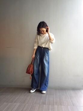 LIFE's堀江店 ERINA  TAMOTSUさんの「コットンスラブトップス(TODAYFUL)」を使ったコーディネート