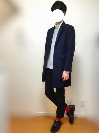 「MEN ソフトタッチタートルネックT(長袖)(ユニクロ)」 using this U looks
