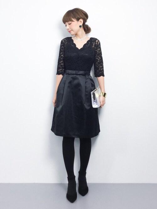 結婚式服装黒60代女