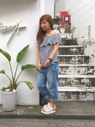 X-girl store|Erinaさんの「OFF SHOULDER TOPS /オフショルダー/トップス/無地/ボーダー/甘めデザイン/夏/トレンド(X-girl|エックスガール)」を使ったコーディネート