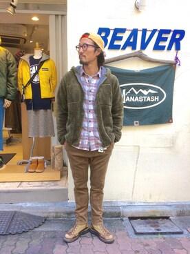 BEAVER上野店|粕谷さんの「MANASTASH/マナスタッシュ BIGFOOT HOODIE(MANASTASH)」を使ったコーディネート