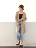 ☆SHIO☆さんの「【WEB限定】リブニット抜き襟ロングコーディガン(CIAOPANIC TYPY|チャオパニックティピー)」を使ったコーディネート