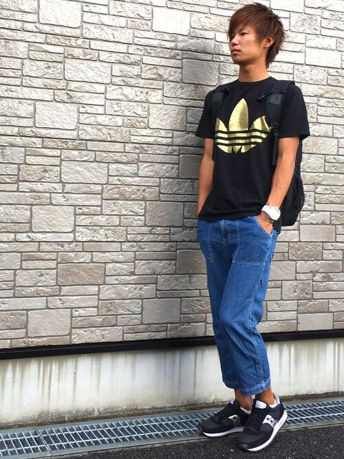Ryu--taさんの「メンズ アディダス Tシャツ 黒金 adidas FOIL TEE(adidas originals)」を使ったコーディネート