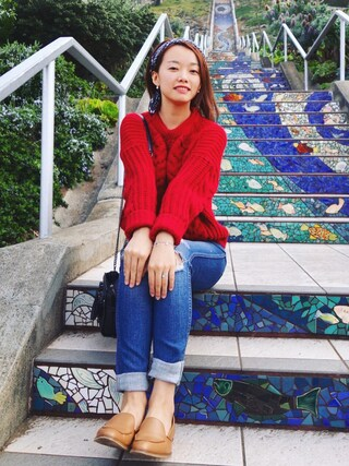 「Madewell The High Riser Distressed Skinny Jeans(Madewell)」 using this Littleyiyi looks