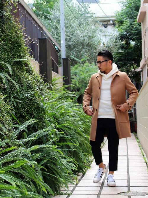 クロップドパンツ着こなしメンズステンカラーコート「KURO BYKURO Bal Collar Wool Coat - Camel」を使ったコーディネート
