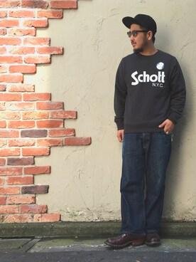 Schott East|omata takayaさんの「SUEDE BASEBALL CAP(schott)」を使ったコーディネート