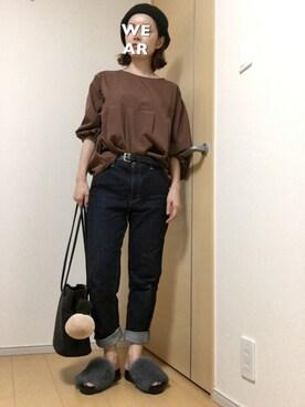 riku☆さんの「《追加》デニムテーパードパンツ。(IENA SLOBE)」を使ったコーディネート