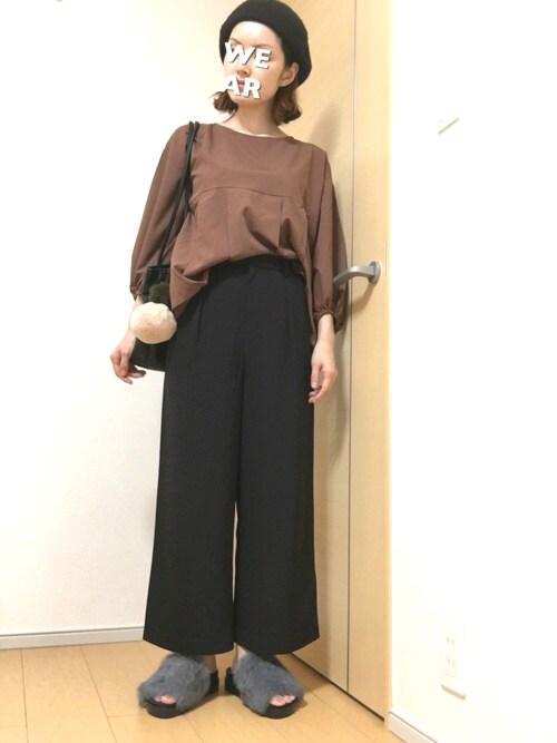 riku☆さんの「WOMEN ドレープワイドクロップドパンツ(ユニクロ)」を使ったコーディネート