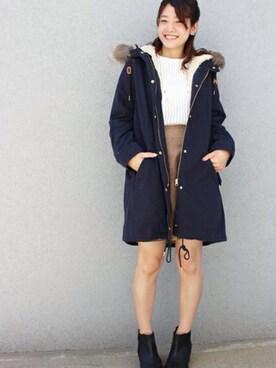 mysty woman 渋谷パルコ店|ゆってぃさんの「フェイクスエード台形スカート(mysty woman|ミスティウーマン)」を使ったコーディネート
