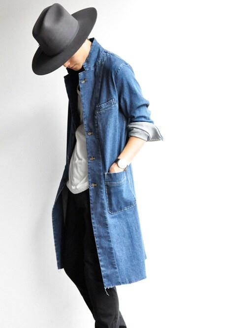 ロングシャツ,コーディネート,着こなし,メンズ,ロングデニムシャツ,ロングチェックシャツ,画像