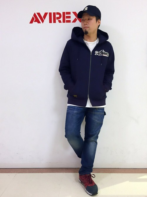 AVIREX 横浜HONDAさんのパーカー「avirex/アヴィレックス/ L/S COOLMAX FLAG PARKA/ 長袖 クールマックス フラッグパーカー(AVIREX|アヴィレックス)」を使ったコーディネート