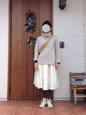 junさんの「ネップ3GG オフタートルネック プルオーバー(CHILD WOMAN|チャイルドウーマン)」を使ったコーディネート