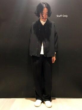 HAREなんばマルイ|青木 / HAREヘップファイブさんの「サテンオープンネックシャツ(HARE|ハレ)」を使ったコーディネート
