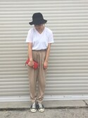 「FOREVER 21 Cuffed Drawstring Joggers(Forever 21)」 using this shoko looks