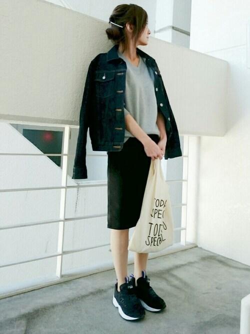 Ayaさんの「(GU)デニムルックタイトスカートB(GU)」を使ったコーディネート