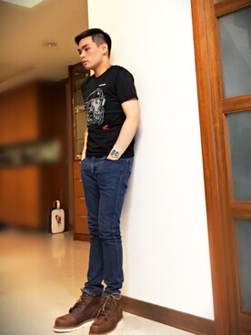 「Red Wing Shoes Rubber-Soled Leather Boots(Red Wing Shoes)」 using this 王昱舜 looks