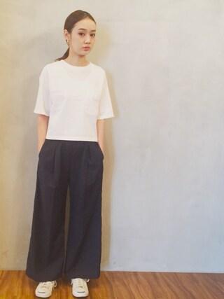 西本早希さんの「ショートTシャツ/AEBC SHORT T(Another Edition|アナザーエディション)」を使ったコーディネート