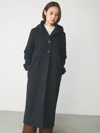 西本早希さんの「LONG HOODIE WOOL COAT(RIM.ARK|リムアーク)」を使ったコーディネート
