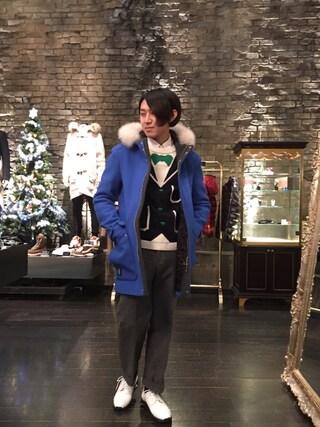 「【GUILD PRIME】MENS ブルーロビンフードコート(GUILD PRIME)」 using this LOVELESS青山|hiromu looks