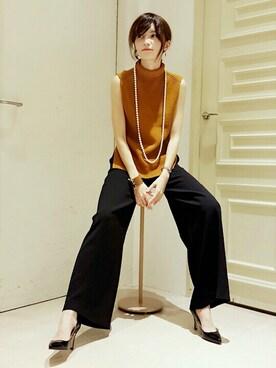 ROPE' mademoiselle 丸の内店|鳥子さんの「【ウェブ先行予約】畦編みノースリーブニット/モックネック(ROPE' mademoiselle)」を使ったコーディネート