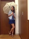 ikka STORE Women's STAFFさんの「UVフリルボーダー傘(ikka イッカ)」を使ったコーディネート