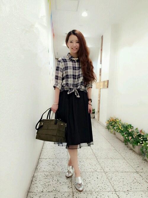 rinoさんの「【KATHARINE ROSS】シャーリングチェックシャツ(KATHARINE ROSS)」を使ったコーディネート