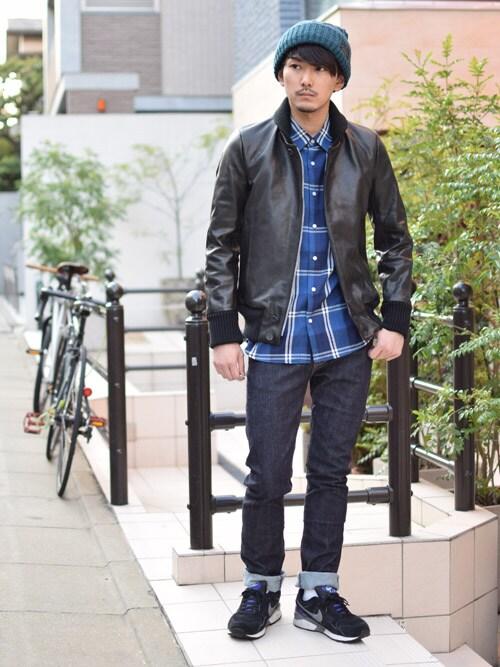 レザージャケットメンズ 着こなしのシャツ・ブラウス「BY KURO BY KURO バイクロ ベーシックインディゴチェックシャツ</p> <p>」を使ったコーディネート