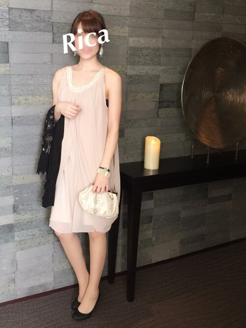 結婚式 二次会 服装 ドレス ピンク
