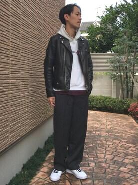 ビューティ&ユース ユナイテッドアローズ 京都店|Keisuke Oosukaさんの「BY シープ ダブルライダース(BEAUTY&YOUTH UNITED ARROWS)」を使ったコーディネート