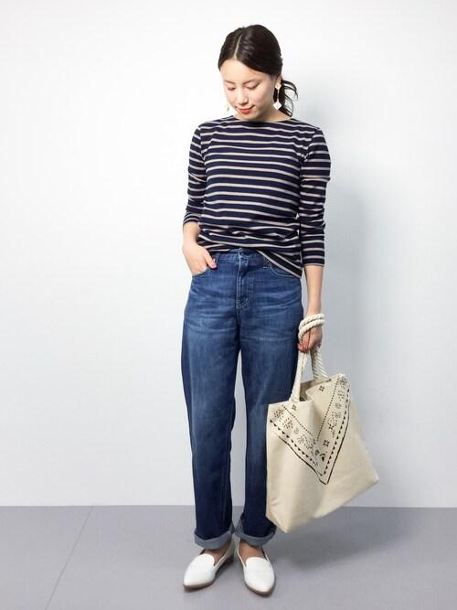 ZOZOTOWN|ぐっさんさんのTシャツ/カットソー「度詰めボーダーカットソー(N.(N. Natural Beauty Basic)|エヌ(エヌ ナチュラルビューティーベーシック) )」を使ったコーディネート
