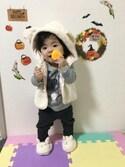 ☆yuuuuua☆さんの「DN05 フード付きボアベスト(ベビー用)(Afternoon Tea|アフタヌーンティー)」を使ったコーディネート
