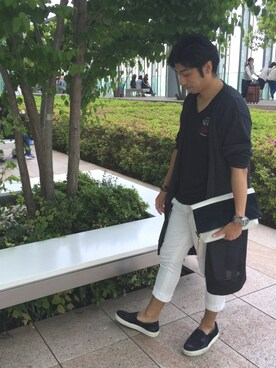 takashiさんの「MESH PLAIN STITCH LONG CARDIGAN(SHAREEF)」を使ったコーディネート