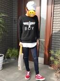 「Boy London Black Eagle Sweat(Boy London)」 using this 諫山中 looks