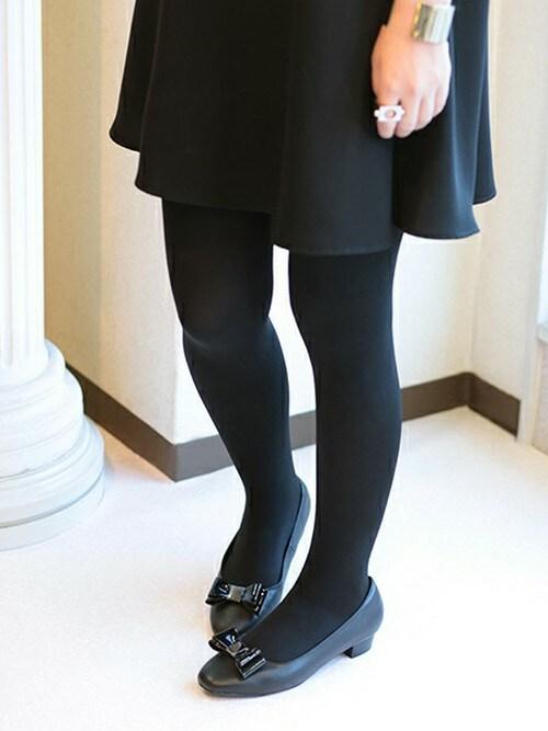 アンさんの「coca/コカ リボン飾り付き 2cmローヒール スクエアトゥパンプス(COCA)」を使ったコーディネート