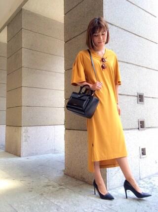 FRAY I.D|kazuki haniokaさんの「Vネックカットワンピース(FRAY I.D|フレイ アイディー)」を使ったコーディネート