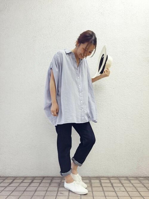 URBAN RESEARCH DOORS|webstaff kosujiさんのシャツ/ブラウス「DOORS コットンギャザーブラウス(URBAN RESEARCH DOORS WOMENS|アーバンリサーチ ドアーズ ウィメンズ)」を使ったコーディネート