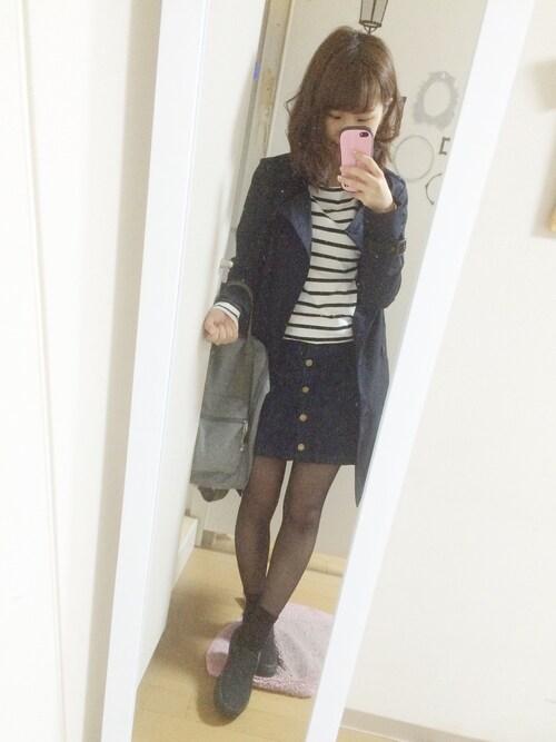 nana♡さんの「button up denim mini SK(MOUSSY)」を使ったコーディネート