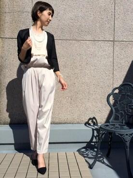 POURVOUS|Mitsuさんの「【結婚式・デイリー】クールフレアー レースオールインワン パンツドレス(PourVous)」を使ったコーディネート