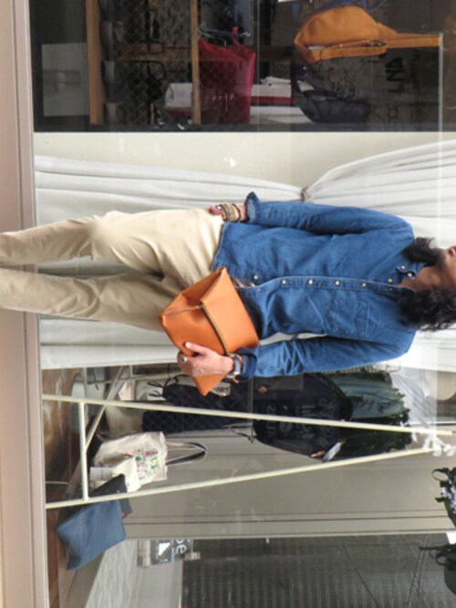 Synapse natif | m.fujiiさんのクラッチバッグ「MR.OLIVE WATER PROOF WASHABLE LEATHER / 2WAY ZIPTOP CLUTCH BAG」を使ったコーディネート